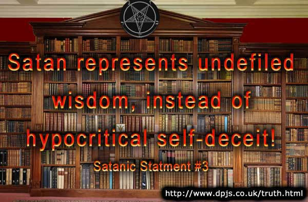A Satanic library full of books, with a large baphomet decoration and a quotation from this page.